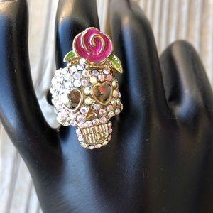 Fab Betsey Johnson Floral Skull Ring!